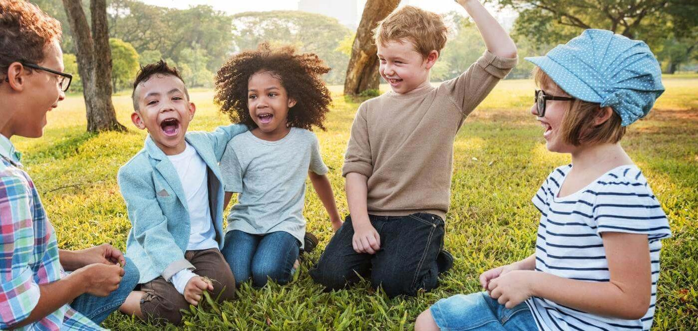 Kids in park grass
